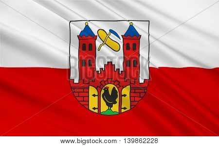Flag of Suhl is a city in Thuringia Germany. 3d illustration