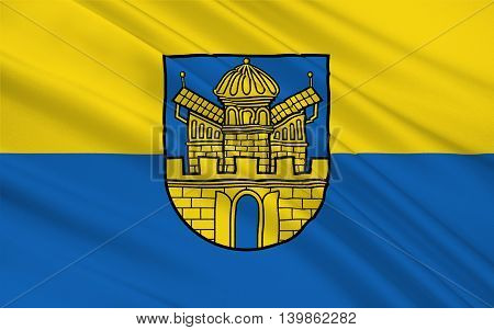 Flag of Boizenburg is a municipality in the Ludwigslust-Parchim district in Mecklenburg-Western Pomerania Germany. 3d illustration