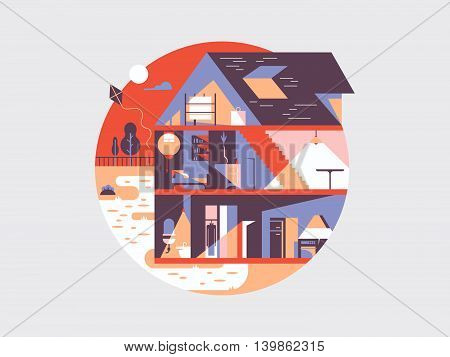 House planning illustration. Vector home construction and project interior with furniture