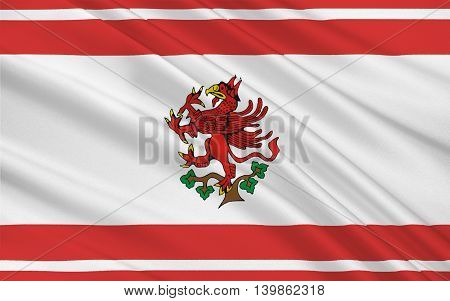Flag of Greifswald is a city in northeastern Germany. 3d illustration