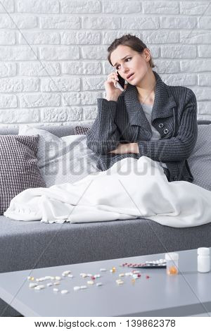 Sick Woman And Mobile Phone