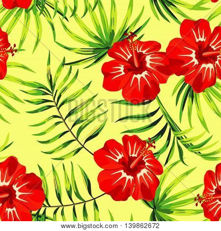 Red hibiscus flowers with green leaves on a yellow background. Vector pattern seamless