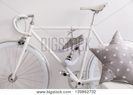 White Bicycle And Sneakers