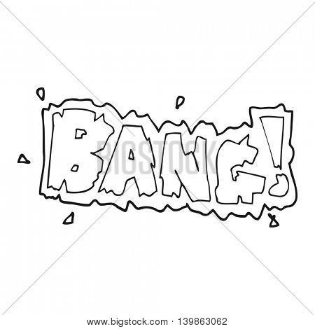 freehand drawn black and white cartoon bang symbol