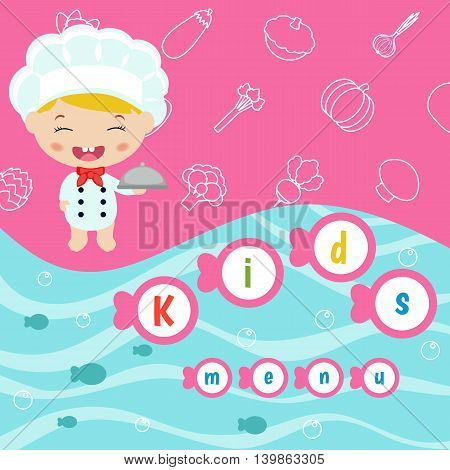 Kids menu card with little cartoon child chef.