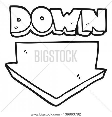 freehand drawn black and white cartoon down arrow symbol