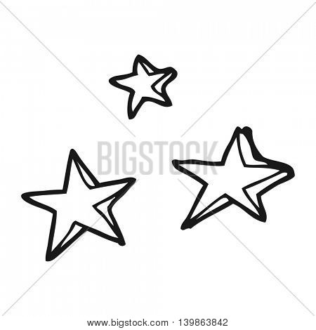 freehand drawn black and white cartoon decorative stars doodle
