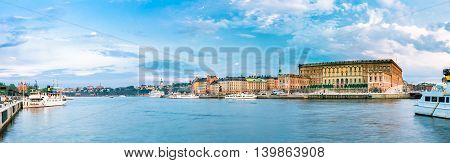 Scenic view of Embankment In Old Part Of Stockholm At Summer Evening, Sweden. Panorama