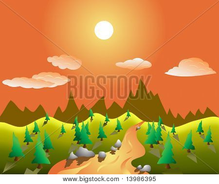Color summer landscape background with trees and river. In my portfolio also available vector version of this picture.
