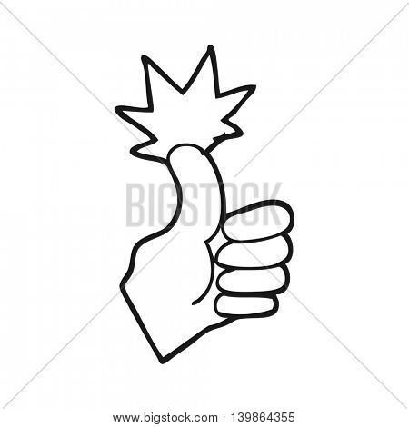 freehand drawn black and white cartoon thumbs up