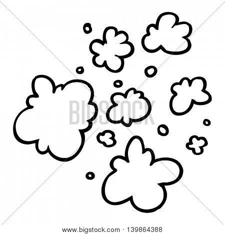 freehand drawn black and white cartoon decorative smoke puff elements