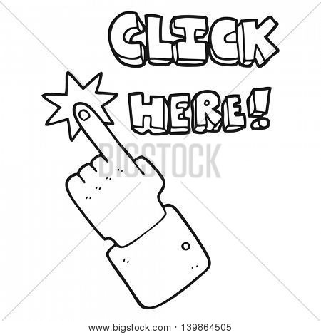freehand drawn black and white cartoon click here sign with finger