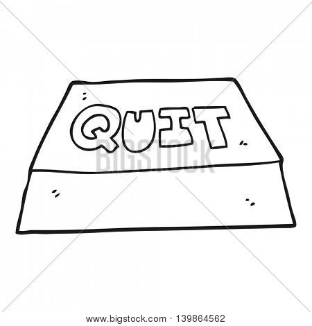 freehand drawn black and white cartoon quit button