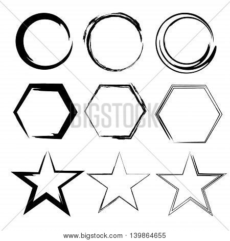 Grunge shapes. Star, circle, hexagon. Set of Hand Drawn , vector design elements Objects