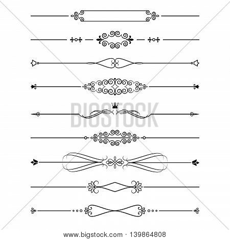 Vintage dividers set isolated on white. Calligraphic design elements.