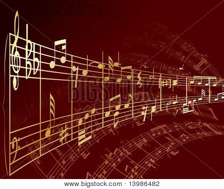 Musical notes staff background. In my portfolio also available vector version of this picture.