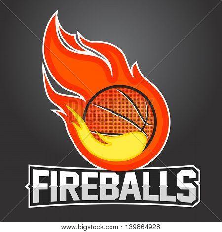 Flying basketball ball with orange fire flames on dark background. Design element. Vintage item. Modern professional logo for sport team.