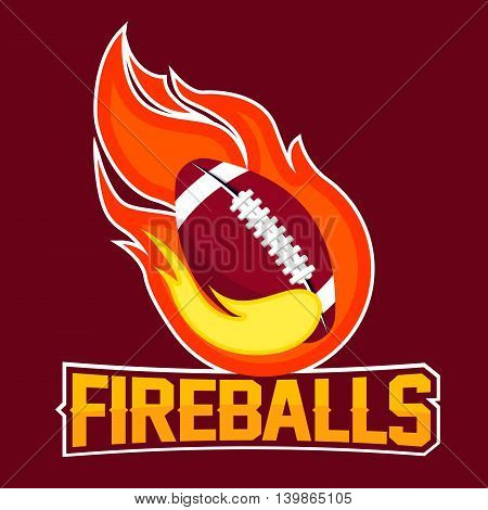 Flying american football ball with green fire flames on dark background. Design element. Vintage item. Modern professional logo for sport team.