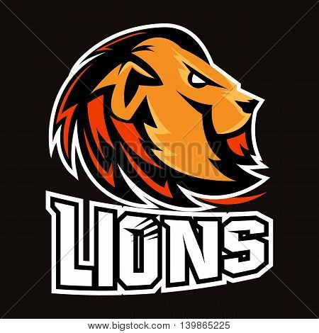 Modern professional lions logo for sport team. Lions mascot for sport teams. Lions, vector logo, symbol on a dark background