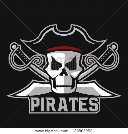 Modern professional pirates logo for sport team. Pirate mascot for sport teams. Pirates, vector logo, symbol on a dark background