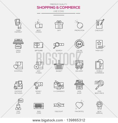 Flat Line Modern icons for Shopping and Commerce. Vector