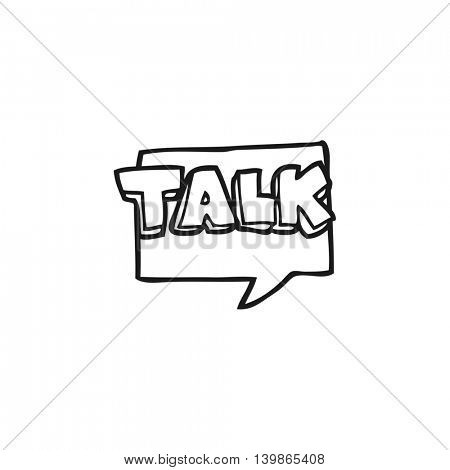 freehand drawn black and white cartoon talk symbol