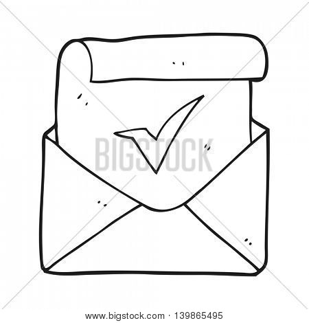 freehand drawn black and white cartoon positive letter