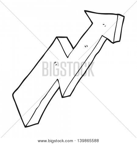 freehand drawn black and white cartoon arrow up trend