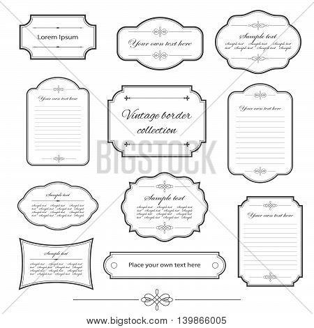 Vintage frame set isolated on white. Calligraphic design elements.