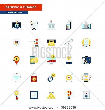Modern flat design icons for Banking and Finance. Icons for web and app design easy to use and highly customizable. Vector