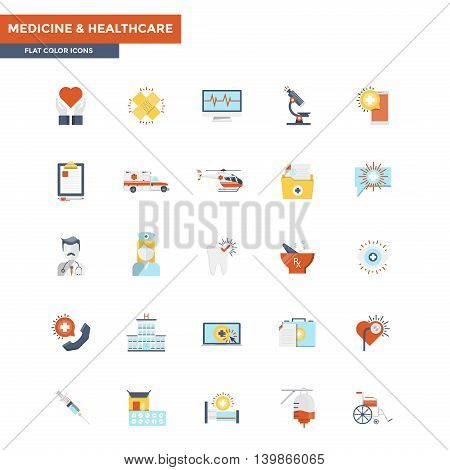 Modern flat design icons for Healthcare and Medicine. Icons for web and app design easy to use and highly customizable. Vector