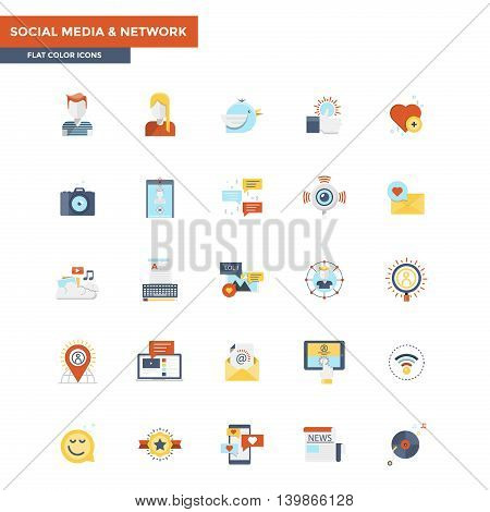 Modern flat design icons for Social Media and Network. Icons for web and app design easy to use and highly customizable. Vector
