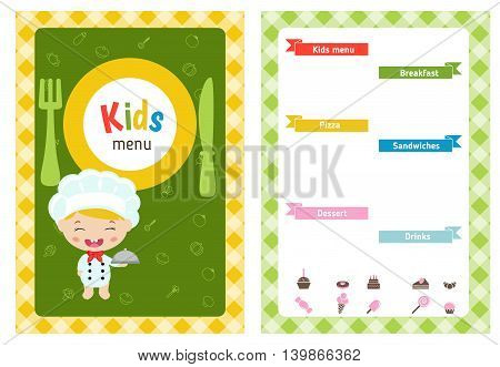 Kids menu card with cartoon child chef. Cute colorful kids meal restaurant menu vector template.