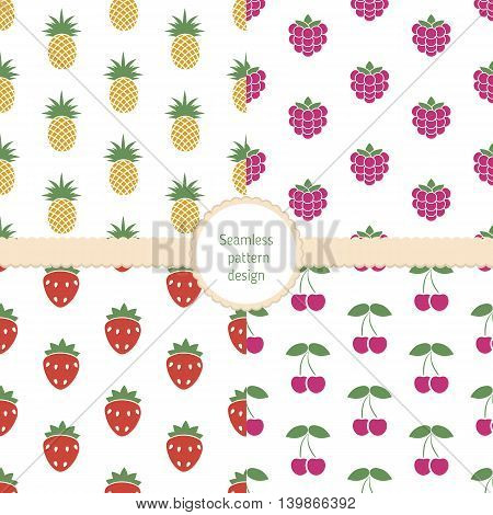 Set of seamless colorful food pattern. Collection of seamless backgrounds with cherry pineapple raspberry strawberry