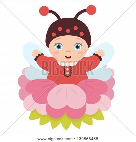 Adorable cute baby sitting in a charming flower in a suit ladybug with wings