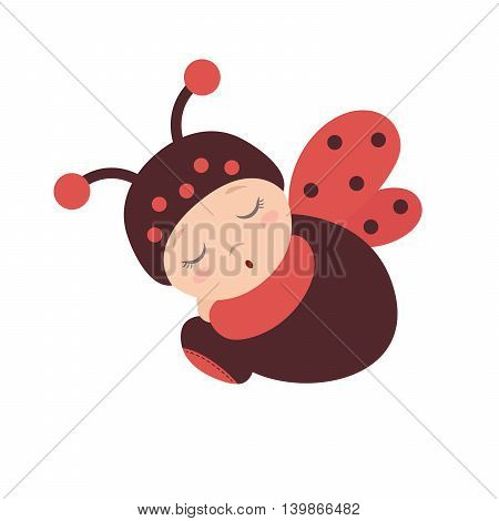 Sleeping sitting baby in a ladybug costume with wings. Flat design.Flat style.