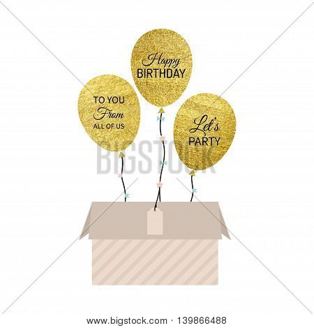 Vector illustration of gold balloon with box. Isolated on white background.