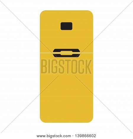 Vector illustration of yellow refrigerator icon. Isolated on white background.