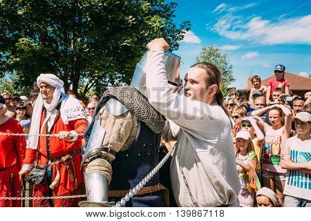 Dudutki, Belarus - July19, 2014: Historical restoration of knightly fights on festival of medieval culture