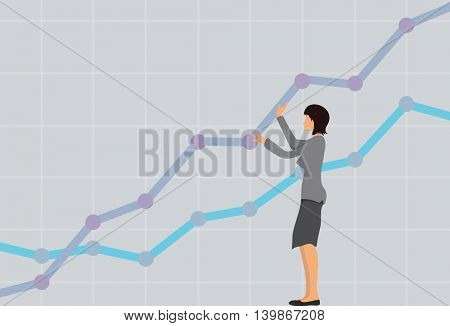 Business concept, woman with a growing chart. Vector illustration