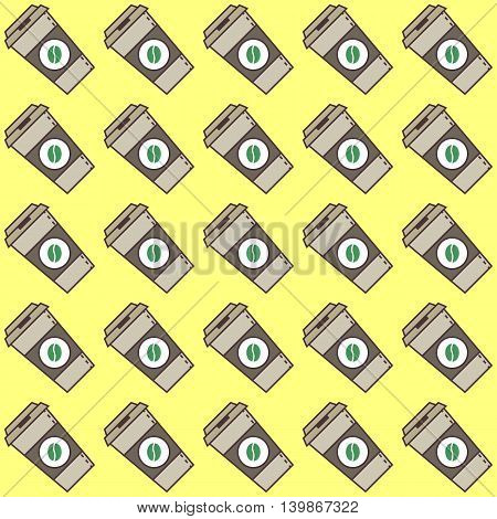 Vector cute coffee cups seamless pattern. Flat style vector illustration. Cute abstract illustration with coffee.