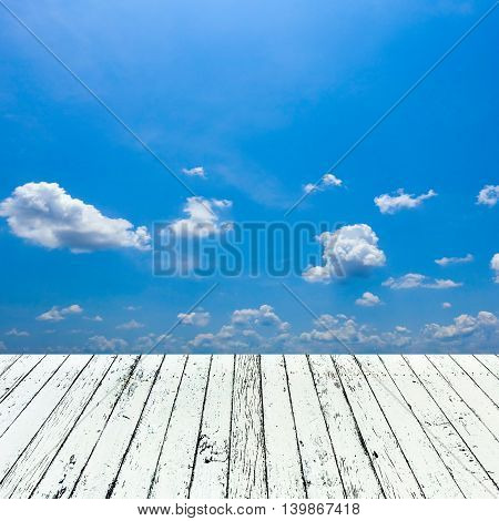 Soft white wooden with image of blue sky background for put your products.