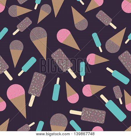 Chocolate and strawberry icecream seamless pattern. Flat and cute