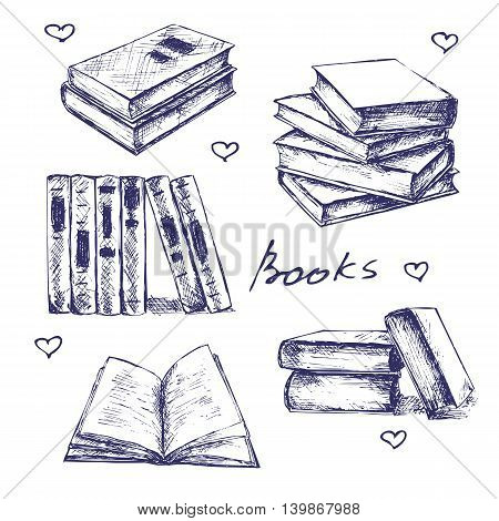 Books set hand drawn vector llustration sketch.  Opened and closed books, books on the shelf, stacked books and single book isolated on white background.