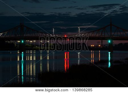 a view of the bridge across the Volga river at night Tver Russia