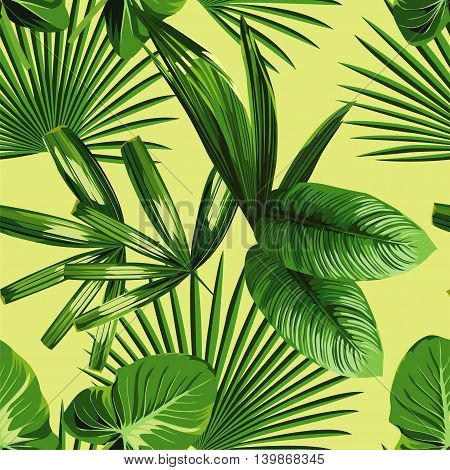 Tropic print summer exotic jungle plant tropical palm leaf and branch. Pattern seamless floral vector on yellow green background. Nature flower wallpaper.