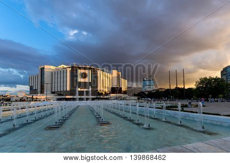 SOFIA, BULGARIA - JULY 3, 2016: Sunset over National Palace of Culture in Sofia, Bulgaria