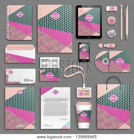 Summer hipster boho chic colorful Corporate identity template set. Business stationery mock-up with logo. Branding design. Memphis texture. Colorful geometric background.