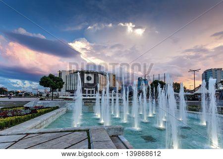 SOFIA, BULGARIA - JULY 3, 2016: Sunset cityscape of National Palace of Culture in Sofia, Bulgaria
