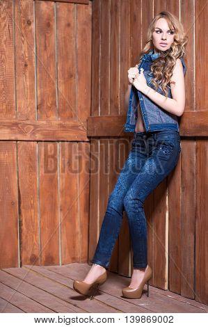 Beautiful Blonde Wearing Jeans Suit